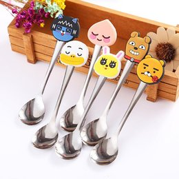 $enCountryForm.capitalKeyWord Australia - Stainless Steel Coffee Spoons Cute Silicone Duck Dog Rabbit Cartoon Head Tableware Small Spoonful Dessert Spoons Kitchen