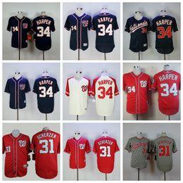 8dd56e445 Men s 2019 Washington 31 Max Scherzer 34 Bryce Harper Top Quality Custom  Nationals Stitched Baseball Jerseys