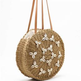 Handmade Zipper Bag Australia - Round Straw Beach Bag Summer Woven Shell Handmade Shoulder Bag Girls Circle Rattan Braided Detail Tote With zipper