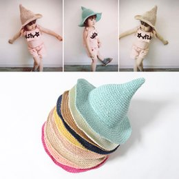 girls pink straw sun hats NZ - Summer Style Kids Sun Caps Straw Hat Creative Pointed Wizard Hat For Lovely Boys And Girls Dropshipping