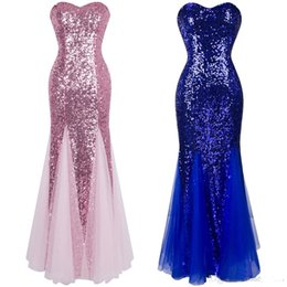 fe39d5903b6 2019 Angel fashions Women Strapless Sleeveless Sweetheart Sequin Paillette  Princess Ball Gown Bodycon Mermaid Illusion Tulle Prom Dress