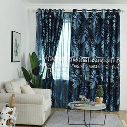 Red pRinted cuRtains online shopping - Green plant curtains living room bedroom green leaf printing gauze and curtain printing blackout curtain shade color optional