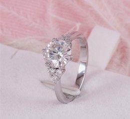 Элегантная леди главный камень является Mozanite голый камень, 18K платины один карат бриллиантовое кольцо шесть коготь бриллиантовое кольцо, очарование леди партнер ювелирные изделия