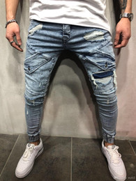 Wholesale skinny jeans cargo pants men resale online – designer New Skinny Biker Jeans Men Motorcycle Stretch Cargo Denim Jeans with Zippers Pleated Slim Jean Men Plus Size Pants