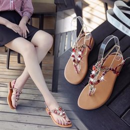 $enCountryForm.capitalKeyWord Australia - Current2019 Second Posimi Flat Bottom Rhinestone Beach Shoes A String Of Beads Toe Leisure Time Sandals Woman