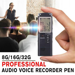 Telephone Audio Australia - 2018 New Rechargeable Recording Pen 8G 16G 32G Digital Audio Voice Recorder Dictaphone Telephone MP3 Player For Meeting Recoerd