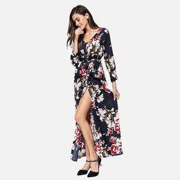 Long Sleeve Full Length Dresses UK - 2019 New Fashion V-neck Long Boho Dress Print Black White Casual Vestidos Beach Dress Women Spring Style Full Sleeve Size S-L