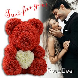roses for women Australia - Hot Sale 40cm Red Bear Rose Artificial Flowers Teddi Bear of Rose Decoration Christmas Gifts for Women Valentine's Day gift SH190920