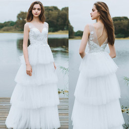 $enCountryForm.capitalKeyWord NZ - Bohemian Style Beach Straps Wedding Dresses Sexy Open Back V Neck Top Lace Appliques Tiers Skirt Latest 2019 Boho Bridal Gowns Plus Size