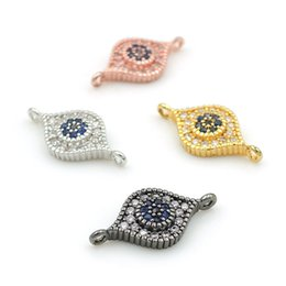 Micro Pave Connectors NZ - 16*8*3mm Micro Pave Clear&Blue&Black CZ Eye Charm Connectors Fit For Men And Women Making Bracelets Jewelry