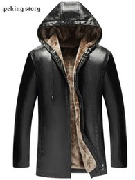 Story O Clothing Australia - Peking Story Fashion Men's hooded Leather Jackets Winter Men Thicken Leather Coats 50% Off Men Slim Fit Solid Color Clothing