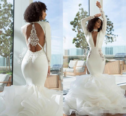 $enCountryForm.capitalKeyWord UK - 2019 Modest Mermaid Wedding Dresses Long Sleeves Sexy Backless Organza Lace Appliqued Tiered Skirt Ruffles Plunging Wedding Bridal Gown