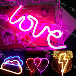 Wholesale LED Neon Sign SMD2835 Indoor Night Light Love Heart Cloud Lightning Model Holiday Xmas Party Wedding Decorations Table Lamps EUB