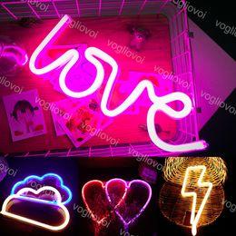 LED Neon Sign SMD2835 Kryty Night Light Love Heart Cloud Lightning Model Wakacje Xmas Party Wedding Decorations Lampy stołowe EUB