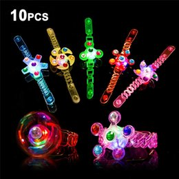 $enCountryForm.capitalKeyWord Australia - Light Up Bracelet Fidget Toys 10 Pack LED Party Favors for Kids Girls   Boys Prizes Glow In The Dark Hand Spin Stress Relief