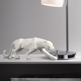 Soft White Paper Australia - Simple Resin paper folding Cheetah Statues Sculptures Black White Animal Creative home office soft Decoration Gifts Crafts