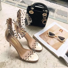 $enCountryForm.capitalKeyWord Australia - Perfect Shoes Aquazzura Pvc Straps Metallic Studs Sandals New Fashion Illusion Sandals Designer Popular Runway Sandals