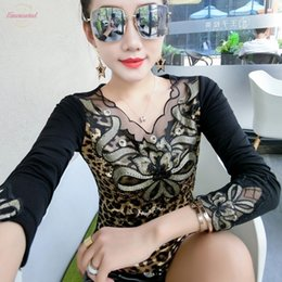 leopard print v neck shirt UK - Fashion Sexy Patchwork Diamonds Leopard Print Tshirt 2020 New Autumn Winter Women Top Shirt Clothes Camiseta Mujer Black T98815