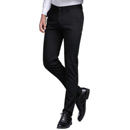 6bd80c10a91 Browon Brand Mens Pant Formal Straight Trousers Full Length Solid Color Slim  Fit Business Suit Pants