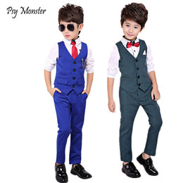 $enCountryForm.capitalKeyWord NZ - Boys Formal Suit for Weddings Prom Party Tuxedo Dress kids Weeding Sets Vest Pants 2pcs Costumes Children Birthday Suit Set