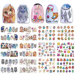 12 Wraps NZ - 12 Designs Cute Nail Wraps Lovely Owl Decals Cartoon Watermark Stickers Colorful Sliders Nail Art Decorations Tool BEBN1153-1164