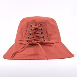 f1076216 High Quality Bandage Bucket Hats Women Big Brim cotton Bucket Cap Girls Sun  protection cap Fishing Summer Sun beach hat