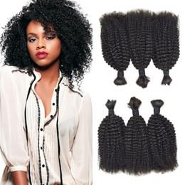 Brazilian afro Braid online shopping - Hot Sale Afro Kinky Curly Human Hair bundles inch Natural Black No Tangle No Shedding Bulk For Braiding
