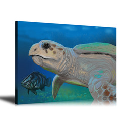 Turtles Figures Australia - HD Printed Animals Oil Painting Home Decoration Wall Art on Canvas Underwater Turtles 24x32inch Unframed