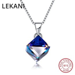 necklaces pendants Australia - Lekani Crystals From Swarovski Blue Cube Pendant Necklace Simple Trendy Collars Real S925 Silver Fine Jewelry For Women Girls Y19061003