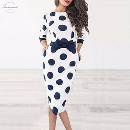 blue shorts white dots NZ - Bodycon Women Polka Dot Vintage Dress Sheath Long Sleeve Short White Bowknot Office Party Dresses Summer 2019
