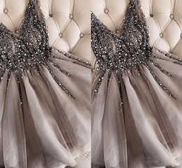 Short StrapleSS prom dreSS white online shopping - Sparkle Crystal Beaded Short Cocktail Dresses Gray Homecoming Dress Cheap Double V neck Sexy Shiny Mini Prom Gowns Abiye Vestidos