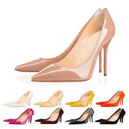 Women size 42 heel online shopping - New arrival luxury designer women shoes red bottom high heels cm cm cm Nude black Leather Pointed Toes Pumps Dress shoes size