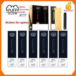 New PUFF BAR GLOW descartável Dispositivo Pods pré-cheia cartucho Vape Pen Código de Segurança Starter Kit 280mAh Battery 1,4 ml LED Light vaporizadores em Promoção