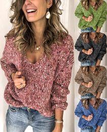 Wholesale brown sweaters women resale online - Fashion Women Sweater Winter Loose V neck Motley Knitted Sweater Long Sleeve Women Autumn Female Sweater S XL
