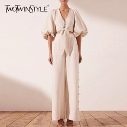 $enCountryForm.capitalKeyWord Australia - Twotwinstyle Fashion Casual Two Piece Sets Female V Neck Puff Half Sleeve Crop Top High Waist Wide Leg Pants Womens Suits 2019 T3190614