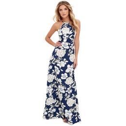 1145f2945112e5 2018 Summer Maxi Long Dress Women Halter Neck Vintage Floral Print  Sleeveless Boho Dress 5XL Plus Size Sexy Beach Dress Vestido Y190117