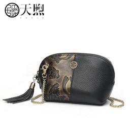 Pmsix 2019 New women Genuine Leather bag brand women Leather handbags  tassel fashion Embossing Luxury clutch bag 2d18cf0d8cb5
