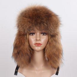 $enCountryForm.capitalKeyWord Australia - New Winter Real Fox Fur Bomber Hats Russian Women Fluffy Fox Fur Ushanka Hat Lady Thick Warm Ears Sheepskin Leather Cap Wholesal