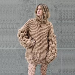 hand crochet cotton Australia - Bubble Sleeve Sweater Pullover One Size Chunky Crocheted Knitted Sweater Chunky Knit Big Yarn Coat Knit Oversized Knit Bomber Jacket