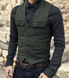 abrigo de lana de los hombres  al por mayor-2021 Oscuro Green Groom Chaleco País Wedding Wool Wool Tweed Chaleco Slim Fit Men s Traje Chaleco Vestido Vestido Vestido Chaleco Farm Country B239