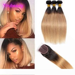 1b 27 human hair extensions UK - Brazilian Virgin Hair Extensions 3 Bundles With 4X4 Lace Closure Straight Human Hair 4 Pieces lot 1B 27 Ombre Hair Extensions 1B 27