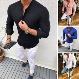 b93b0a6d 2019 Hot Men's Slim V Neck Long Sleeve Muscle Solid Shirt Casual Shirts  Tops Blouse Men Fit Buttons Shirt Drop Shipping