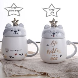$enCountryForm.capitalKeyWord Australia - Wholesale- 360ml Cute Cat Cartoon Coffee Mug Smooth Frosted Ceramic Cup, Coffee Mugs, Tea Cup, for Office and Home, Funny Gift
