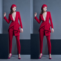 daaf4cff080 Black jumpsuits cheap online shopping - Red Jumpsuits New Prom Dresses Long  Sleeve Sexy Deep V