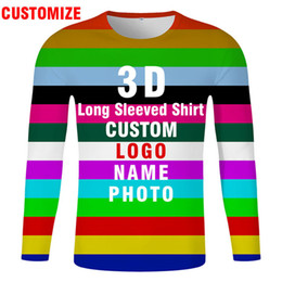 named clothing Canada - 3D long sleeve t shirt free custom logo text name diy t-shirt flag longsleeve nation team tshirt Long-sleeved streetwear clothes