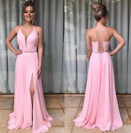 spring water sale Canada - 2019 pink chiffon Formal Evening Dresses spaghetti long Prom Dresses sweep train sexy split special occasion Wear Pants for Women Hot Sale