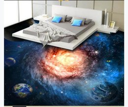 leather living room wallpaper Australia - 3D custom self-adhesive waterproof photo floor mural wallpaper Beautiful Starry Universe Galaxy Swirl 3D Bathroom Floor Tiles Floor Painting