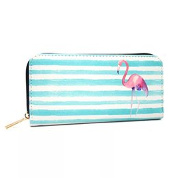 Promotional Cards Australia - Stripe Purse cartera hombre Promotional Printing flamingo pineapple Large Capacity zipper wallet card pouch wallet