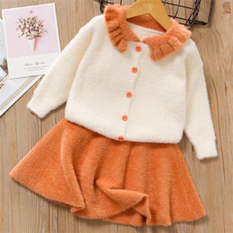 Wholesale knit sweater skirt sets for sale - Group buy Baby Girls Clothing Cotton Sweater Dresses Party Princess Knit Piece Winter Fuzzy Baby Toddler Girl Jacket Skirt Sets