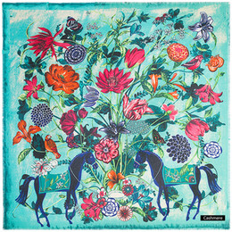 $enCountryForm.capitalKeyWord Australia - wholesale Cashmere Pashmina Scarf Women Winter Thick Warm Scarves Horse Print Shawls Bandana Bufandas Echarpe Femme 130*130CM 9249